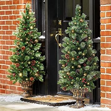 set of 2 48 pre lit battery operated porch tree outdoor christmas topiary yard decor - Porch Christmas Tree