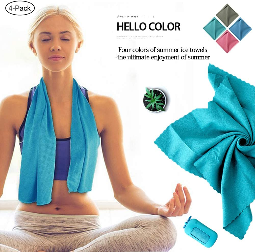 "[4 Pack] Cooling Towel(36""x12""),Instant Relief Cooling Towel for Neck, Ice Towel,Workout Towel,Sports Towel,Gym Towel,Running Towel,Soft Breathable Chilly Towel,Microfiber Towel"