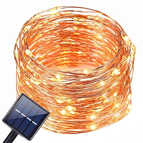 39.4ft Outdoor Led Solar Powered String Lights,100 LED Copper Wire Peach Blossoms Flower Lights,Waterproof IP65 Fairy Decorative Lights for Christams,Wedding,Homes,Party,Halloween (Walm White)