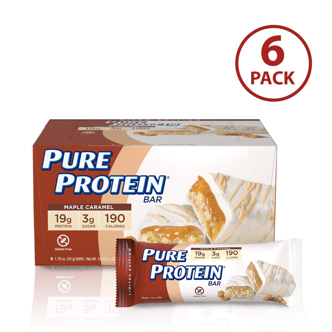 Pure Protein Bars, Gluten Free, Maple Caramel, 1.76 oz, 6 Count by Pure Protein