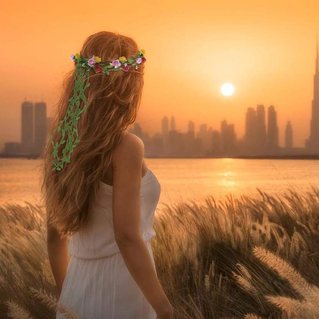 Soleebee 7 St/ück Blumenkranz Blume Krone M/ädchen mehrfarbig Bohemian Floral Girlande Kopfschmuck Stirnband Haarband f/ür Geburtstag Party Hochzeit Braut Brautjungfer