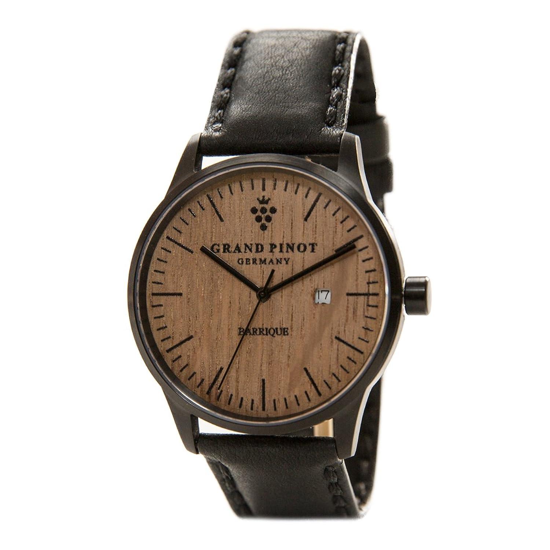 Grand Pinot Herren-Armbanduhr CHARACTER (42 mm) Schwarz-Barriquefass mit schwarzem Lederarmband