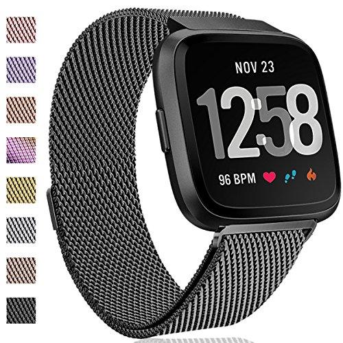 HUMENN Bracelet pour Fitbit Versa/Fitbit Versa Lite, Milanese en Acier Inoxydable réglable Montre Intelligente avec Fermeture magnétique pour Fitbit Versa ...