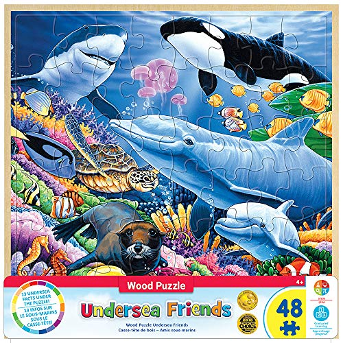 (MasterPieces Real Wood Tray Jigsaw Puzzle Undersea Friends, Mom's & Preferred Choice Awards, STEM Product, 48 Pieces, For Ages 4+ )