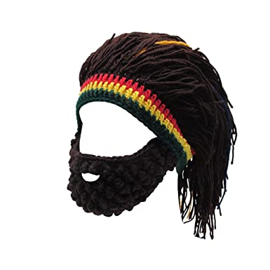 28fa6b7a97b FALETO Funny Knit Beanie Beard Hat Rasta Hat with Dreadlocks Handmade Wig  Fancy Halloween Caps