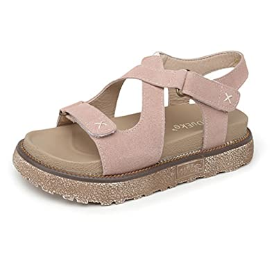 a3e2768a5 Zarbrina Womens Flat Platform Sandals Casual Rome Fisherman Summer Open Toe  Buckle Thick Bottom Shoes Apricot