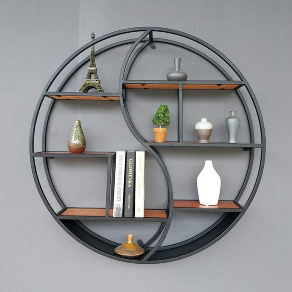 YUEQISONG Shelves 3 Layers Solid Wood Round Shelves Decorative Shelf 68Cm/88Cm, Diameter 68cm, Black