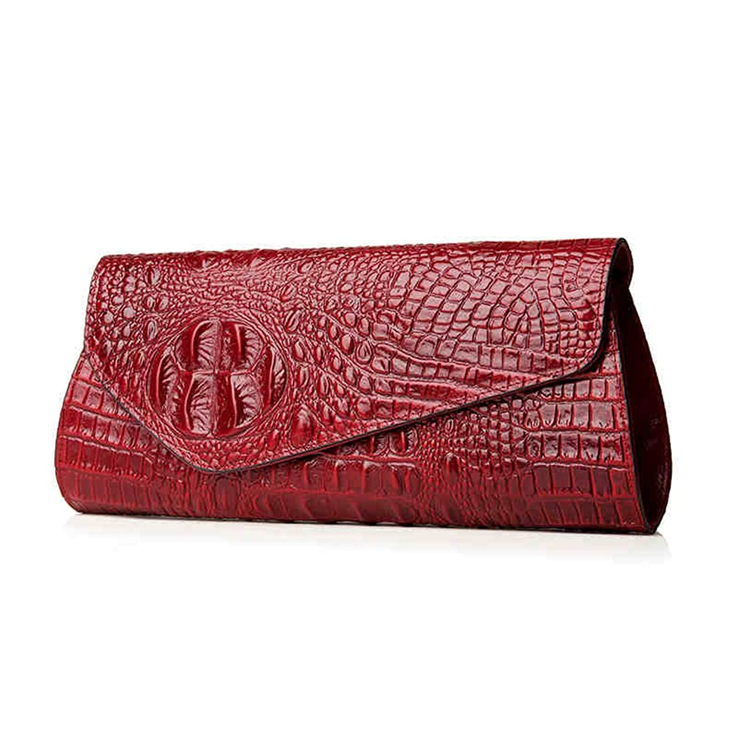 Ainifeel Women's Crocodile Embossed Genuine Leather Clutch Wallets Purse