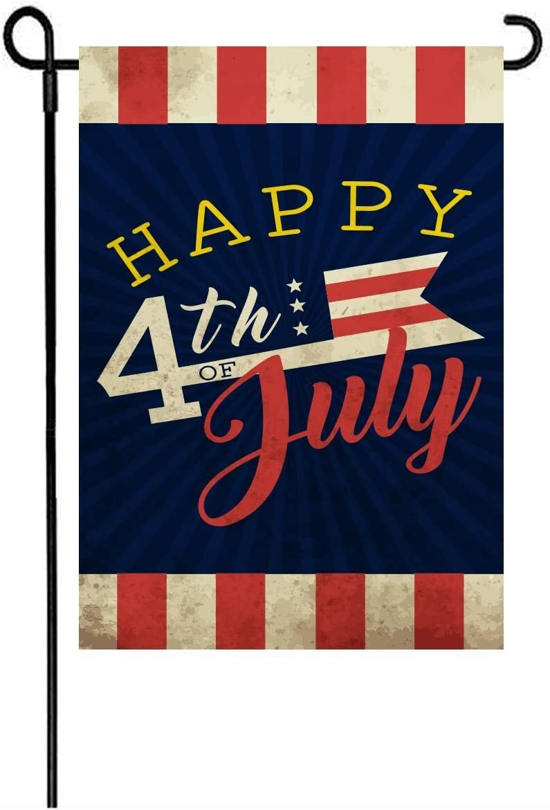LHSION 4th of July Patriotic Garden Flag 12.5 x 18 - Independence Day Memorial Garden Flags Decorative Double Sided Flag for Anniversary Décor
