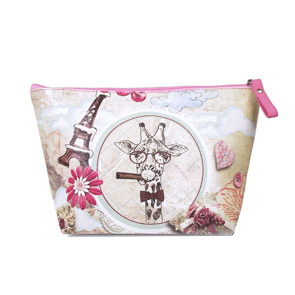 TaylorHe Make-up Bag trousses à maquillage, sac pochette pour cosmétiques, motifs colorés, imperméable girafe