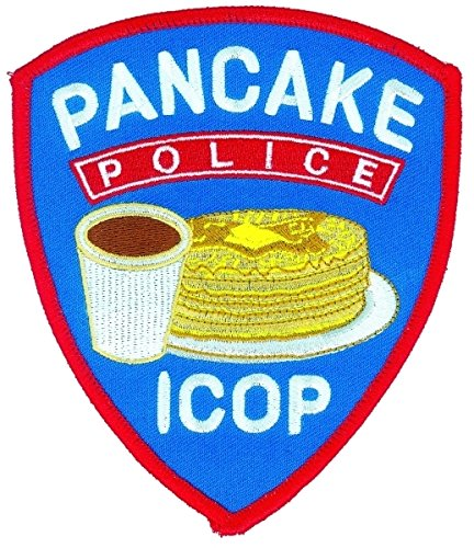(PANCAKE POLICE - ICOP (Iron-On) Patch, 4-1/8 X 5 - Collector Patch, Funny Costume Police Sheriff Security Shield Logo Jacket Uniform Patch Military Patch - Sold by Uniform World)
