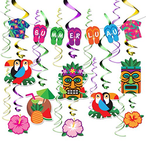 36Pcs Hawaiian Banner and Hanging Cardstock with Yellow, Blue, Purple Swirl Hanging for Hawaiian, Tropical, Tiki, Summer Luau, Summer Pool Party Decorations Supplies By WEEPA