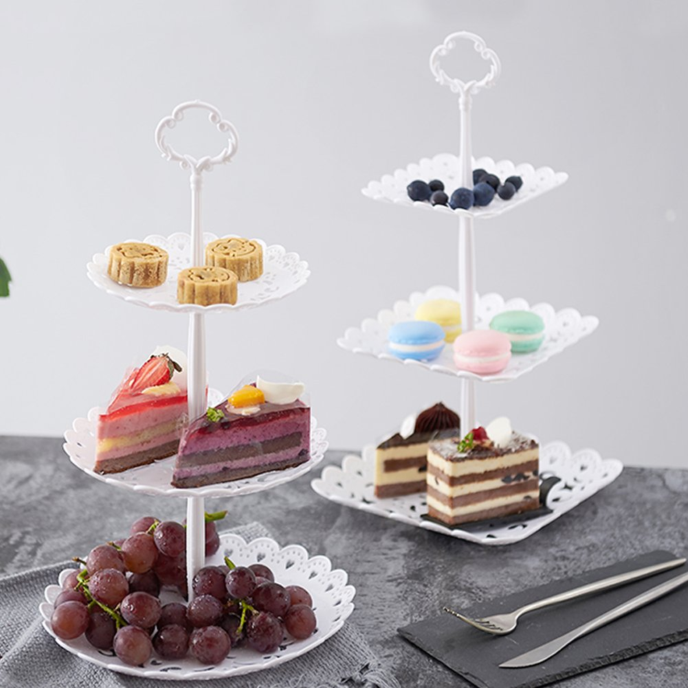 2 Set of 3-Tier Cake Stand and Fruit Plate Cupcake Plastic Stand White for Cakes Desserts Fruits Candy Buffet Stand for Wedding & Home & Birthday Party Serving Platter by Agyvvt (Image #6)