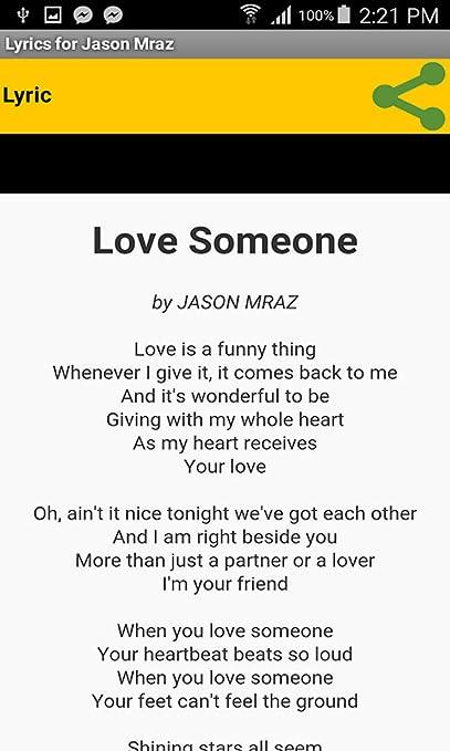 Amazon com: Lyrics for Jason Mraz: Appstore for Android