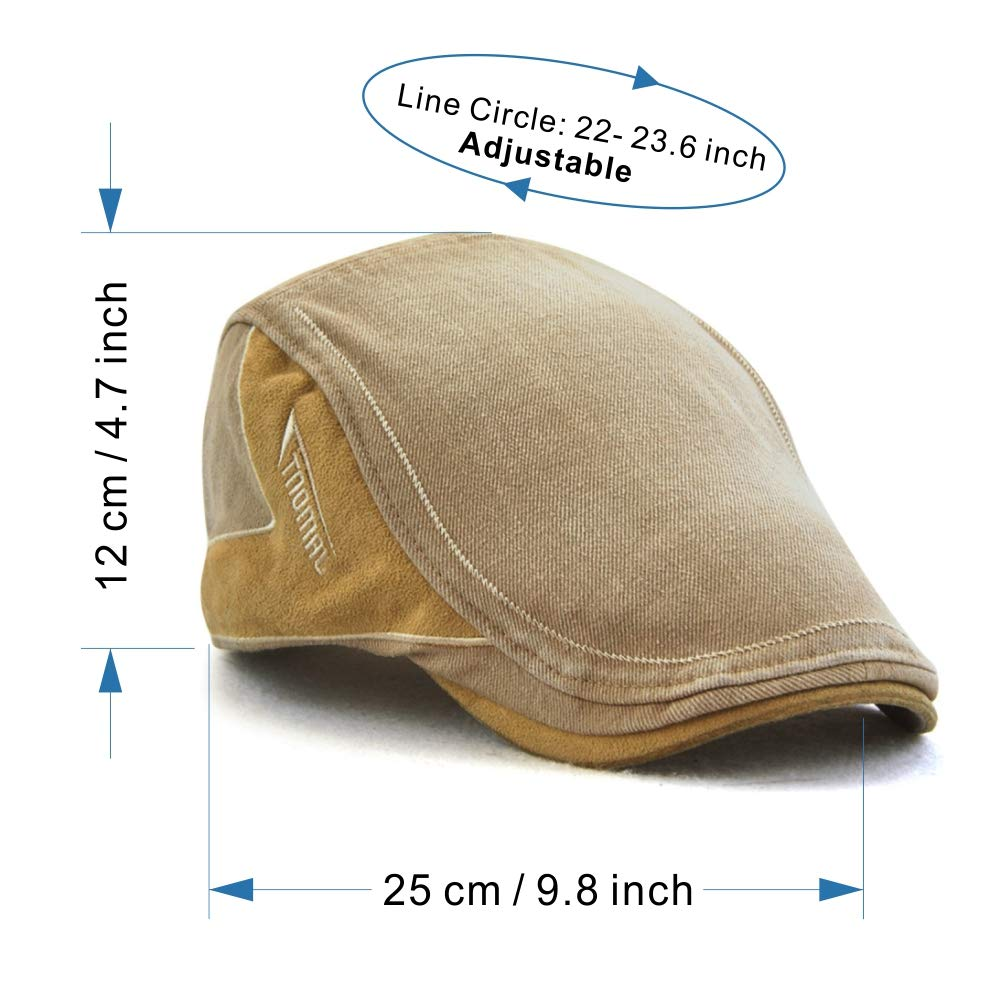M MOACC Men Newsboy Hats Cotton Cap Beret Buckle Adjustable Cabbie Driving Hunting Hat,Beige