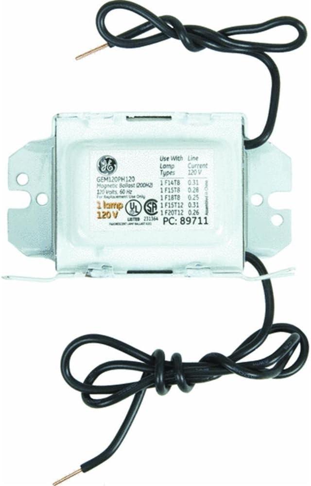 GE Lighting 68186 GEM120PH120DIY LFL Magnetic Rapid Start Ballast for 1- F20T12 200H2 F15T8 F1512-120V Magnetic Ballast