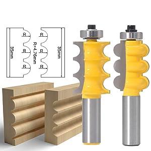 GAFeng Triple Bead & GAFeng Flute 2 Bit Furniture Trim Molding Router Bit Set 1/2-Inch Shank