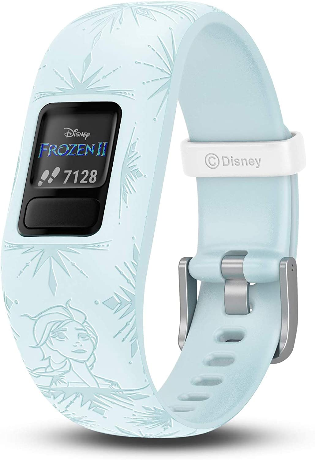 Garmin 010-01909-38 Vivofit Jr. 2, Kids Fitness/Activity Tracker, 1-Year Battery Life, Adjustable Band, Disney Frozen 2, Elsa, Light Blue