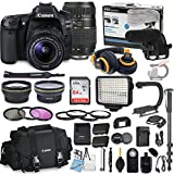 Canon EOS 80D DSLR Camera Bundle with Canon EF-S 18-55mm STM Lens & Tamron 70-300mm Di LD Zoom Lens + Professional Video Accessory Bundle includes ECKO Headphones, Microphone, LED Light and More..