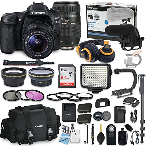 Canon EOS 80D DSLR Camera Bundle with Canon EF-S 18-55mm STM