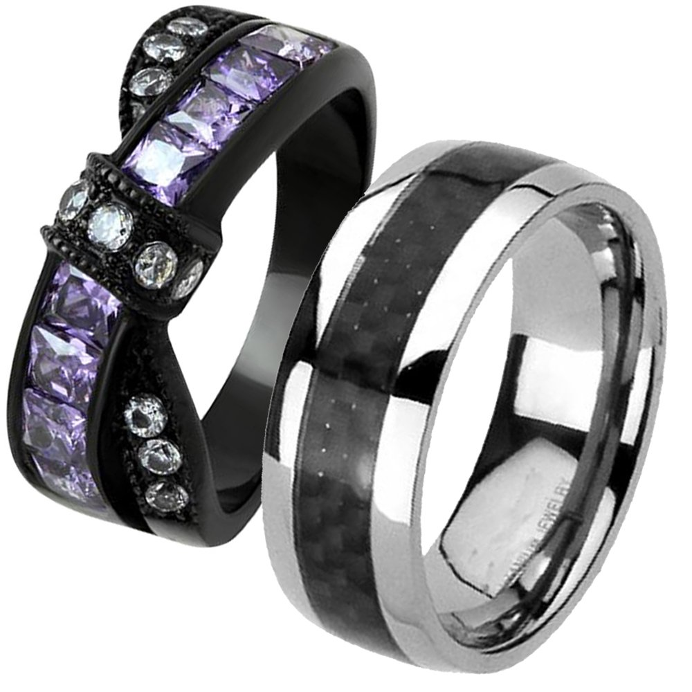 Cherish Loves His Hers Black Stainless Steel Created-Amethyst & Carbon Fiber Inlay Wedding Engagement Ring Sets TKJ