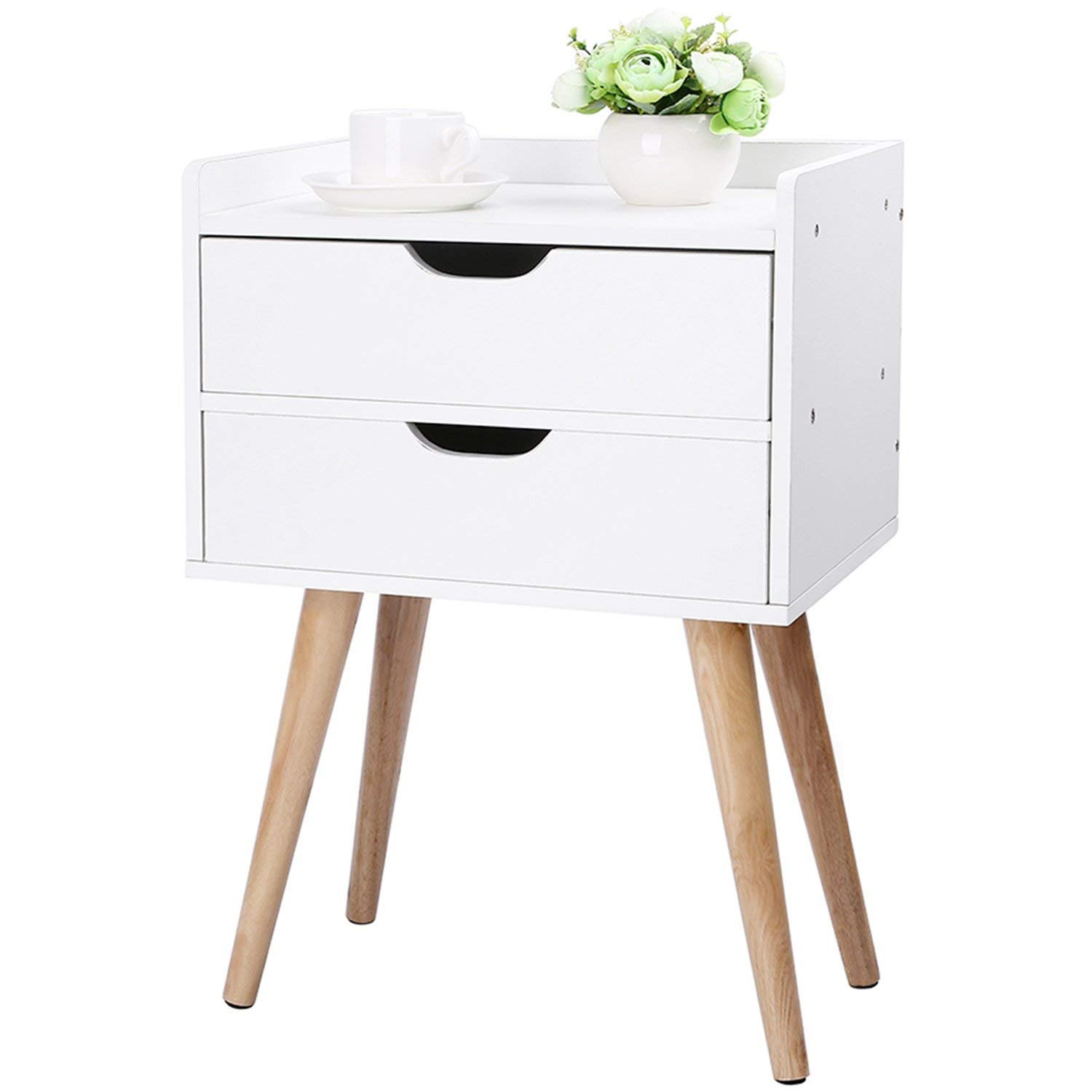 genenic Wood End Table Modern Nightstand Sofa Side Table with 2-Drawer Storage Chairside Bedside Table for Bedroom Office