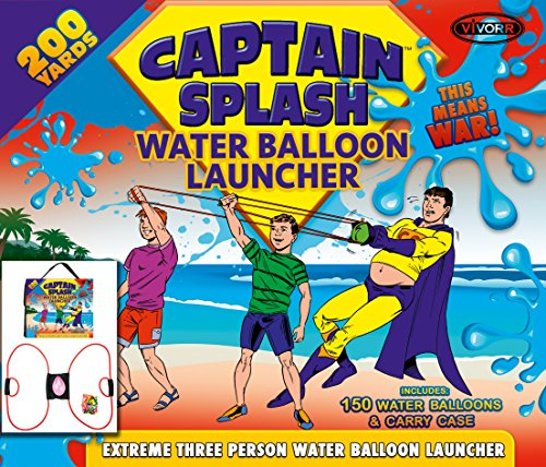 Water Balloon Launcher 200 Yards by Captain Splash, 3 Person Slingshot Cannon Catapult, 150 FREE Water Balloons & Carry Case Included. (Red, Extra Strong Latex Sling) 2019 Edition. Outdoor Games