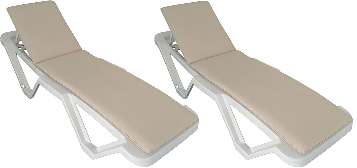 Pack of 2 Sun Lounger Cushions - Beige, Cream, Natural Colour - Fits most Loungers Including Resol Master and Marina Harbour Housewares
