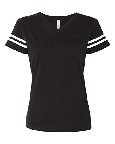 LAT Apparel Ladies Football Jersey V-Neck Tee