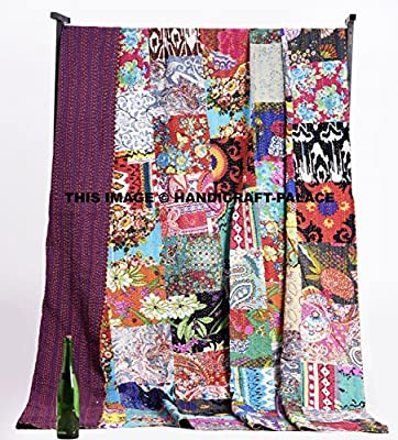 Handicraft-Palace Cotton Kantha Block Print Queen Quilt Bedspread Blanket/Indian Traditional Floral Patterned Multicolor Bedding Decor Tapestry/Tribal Ethnic Handmade Bohemian Duvet Coverlet Throw