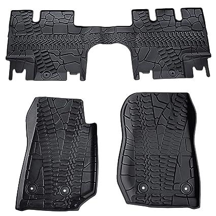 TURBOSII Floor Mats Liners Compatible for 2014 2015 2016 2017 2018 Jeep Wrangler JK 4 Door