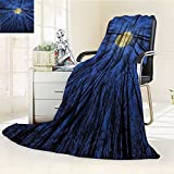 YOYI-HOME Duplex Printed Blanket,Suitable for Fall Winter Summer Spring Forest Full Moon Illumination in Woods Star Night Heavenly Lunar Treetops Up Space Art Blue Warm Elegant Cozy Fuzzy Fluffy Faux