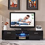 New High Gloss TV Stand Unit Cabinet Console Furniturew/LED Shelves 2 Drawers Black
