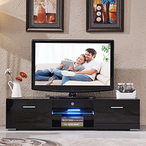 High Gloss TV Stand Unit Cabinet Console Furniture w/LED Shelves 2 Drawers Black - 63' Console
