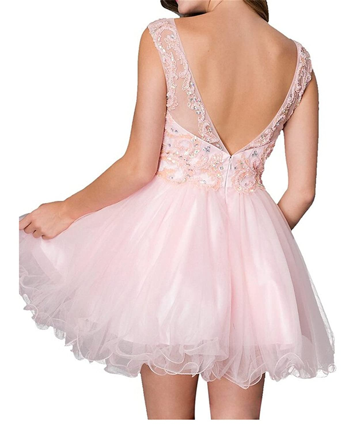 AngelDragon Short Tulle Ball Gowns Appliques Beading Evening Party Prom Dress