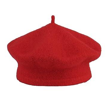 La vogue Sombrero Gorro Gorra Boinas Para Niñas De Lana Rojo  Amazon ... bdfbb83d9da