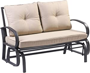 Patio Loveseat Outdoor Swing Glider Rocking Bench for 2 Person,Garden Rocking Seating Steel Frame Chair Set with Cushion (Beige)