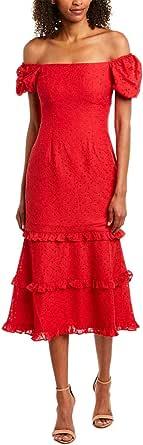 Keepsake the Label Womens 30190164 Higher Lace Puff Sleeve Midi Sheath Dress Short Sleeve Dress - red