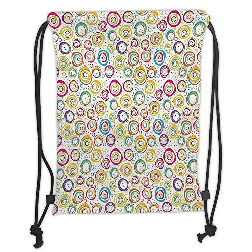 New Fashion Gym Drawstring Backpacks Bags,Abstract Home Decor,Pattern with Circles and Dots Bubble Rings Spotted Springtime Enjoyment Decorative, Soft Satin,Adjustable String Clos