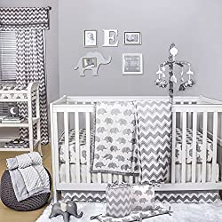 Grey Elephant and Chevron 5 Piece Crib Bedding for girls with Bumper by The Peanut Shell