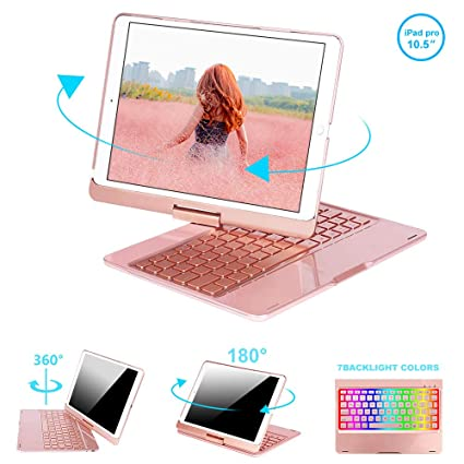pick up 55238 f7485 Keyboard Case Compatible iPad Pro 10.5, Aluminum Shell Smart Folio 360  Rotate Smart Keyboard Case with 7 Colors Back-lit Auto Wake/Sleep,iPad 10.5  ...
