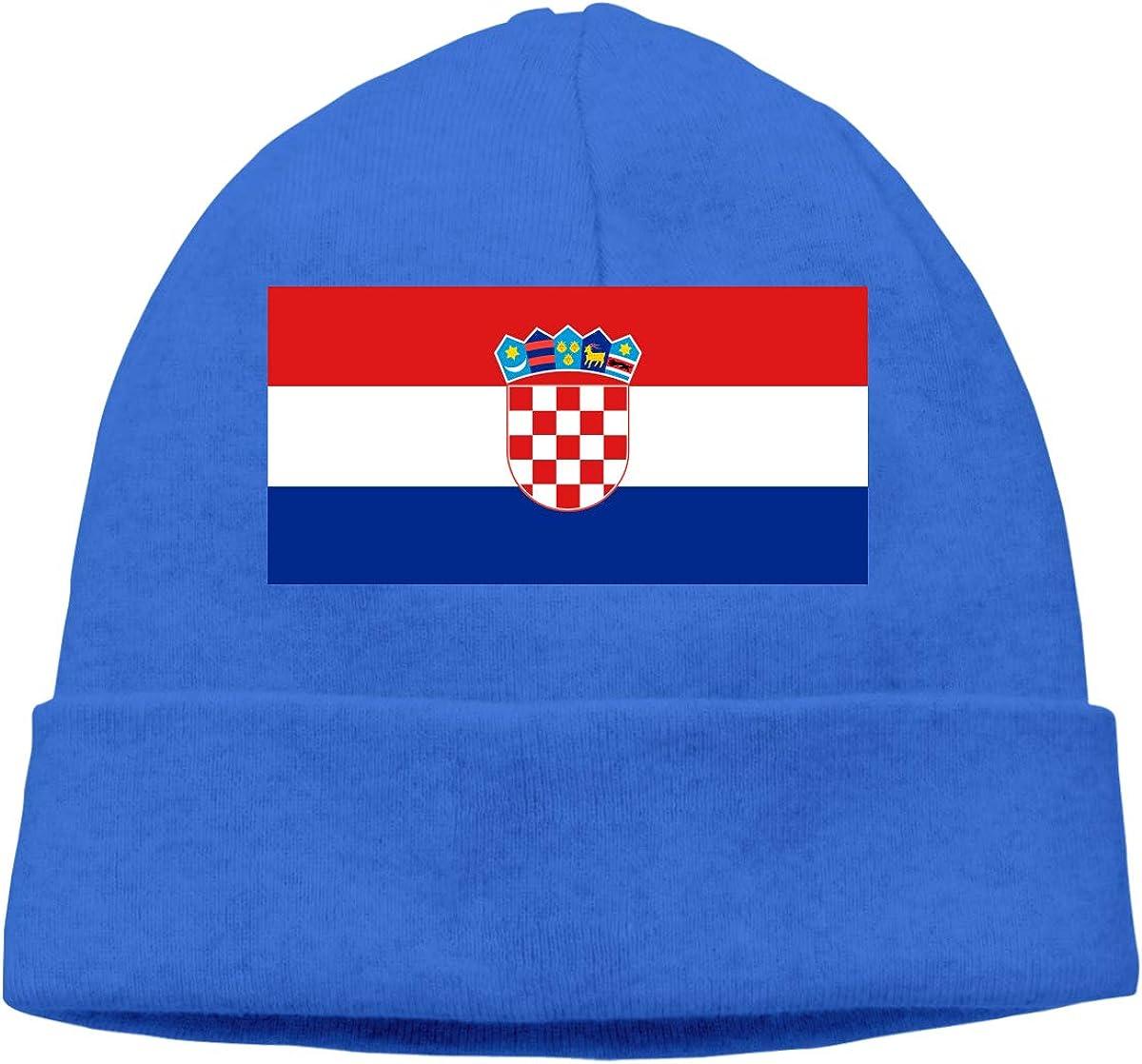 Croatia Flag Unisex Cuffed Plain Skull Knitted Hat Beanie Cap Men Women Black