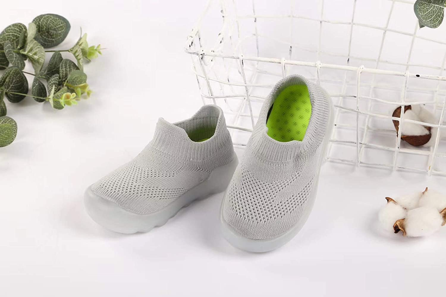 Baby Toddler Sock Shoes Infant Soft Rubber Sole Shoes Breathable Cotton First Walking Shoes Anti-Slip for Kids Baby Girls Boys