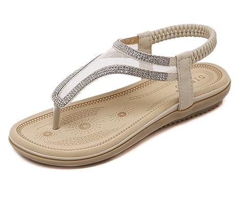 Tomsent Damen Sommer Strandschuhe Böhmische Stil Schuhe Strass Flip Flops Peep Toe Flache Sandalen Aprikose EU 36 i60DjuVwKt