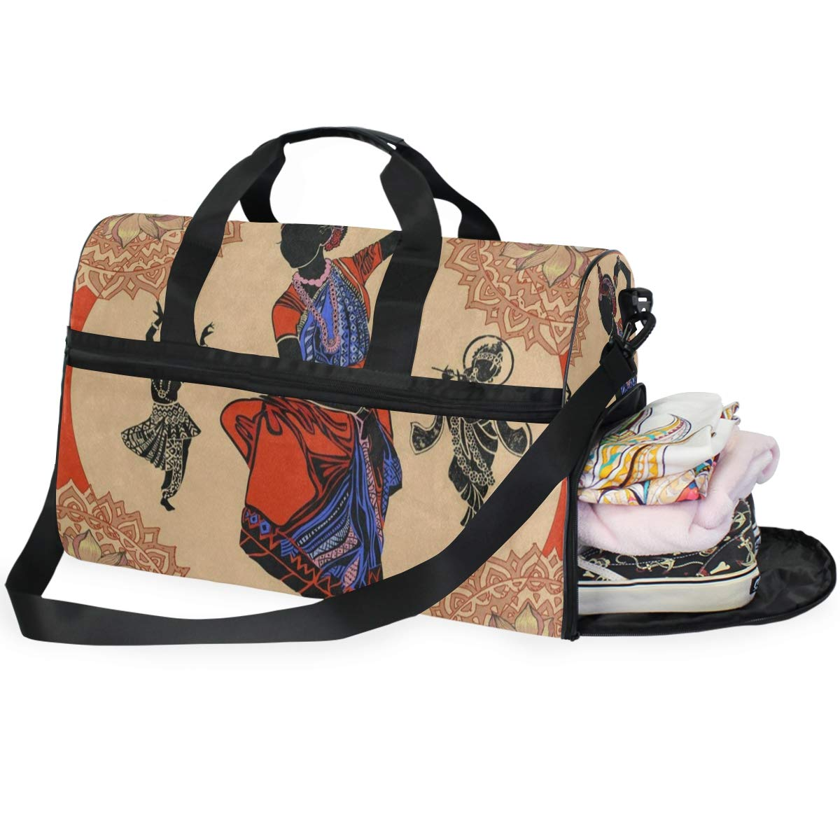 Travel Tote Luggage Weekender Duffle Bag Indian Woman Mandala Large Canvas shoulder bag with Shoe Compartment
