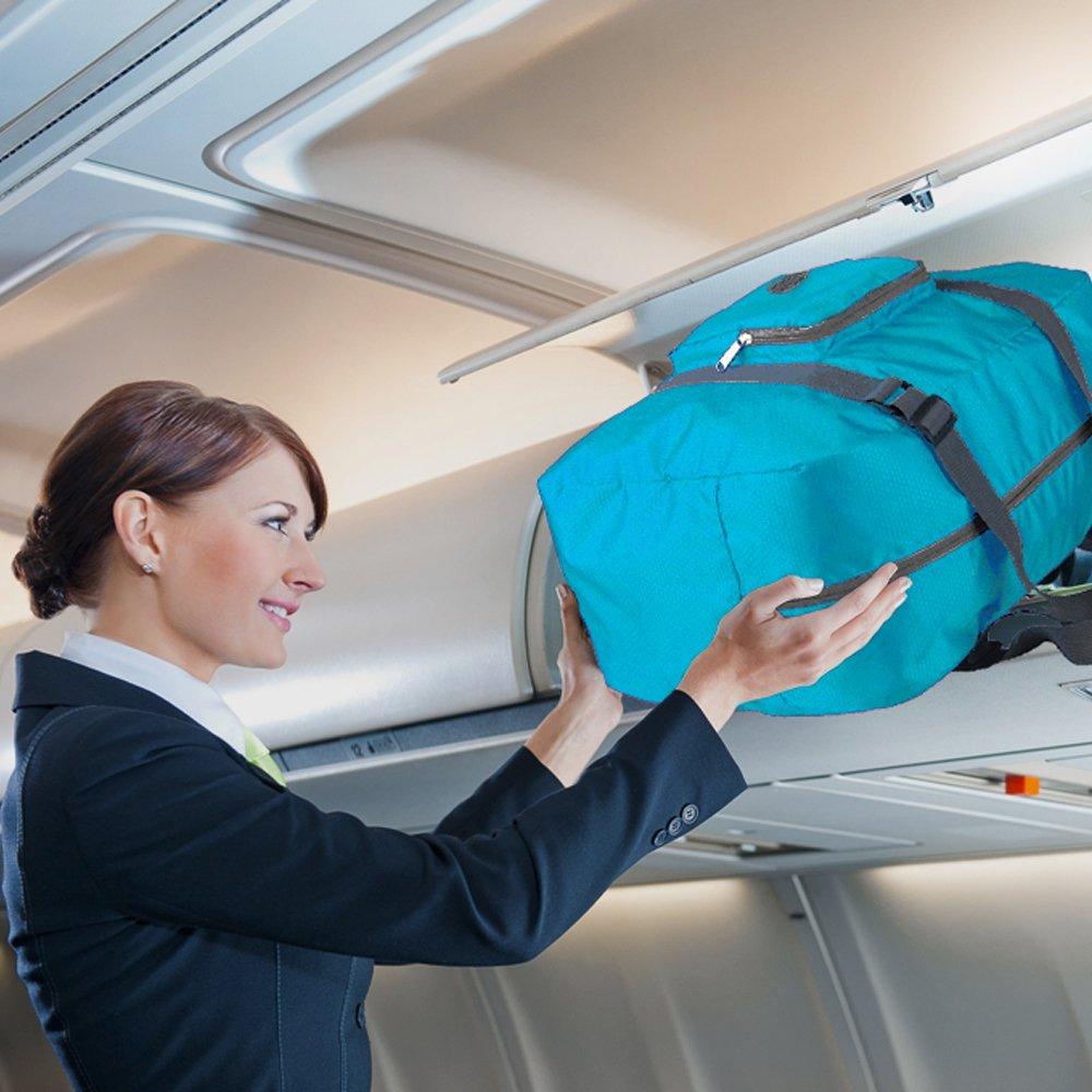 Wandf Foldable Travel Duffel Bag Luggage Sports Gym Water Resistant Nylon, Blue by WANDF (Image #9)