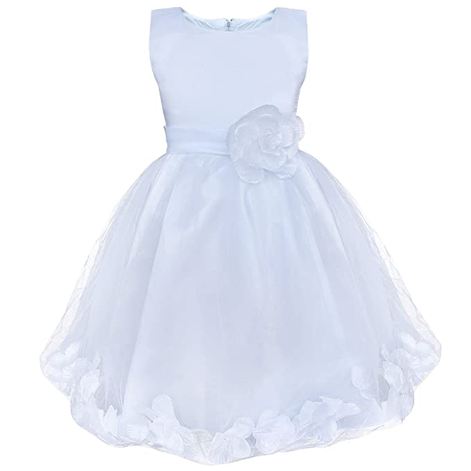 8cde64770 iEFiEL Kids Girls High-Waist Flower Petal Wedding Party Bridesmaid Formal  Prom Birthday Princess Rosette Dress: Amazon.co.uk: Clothing