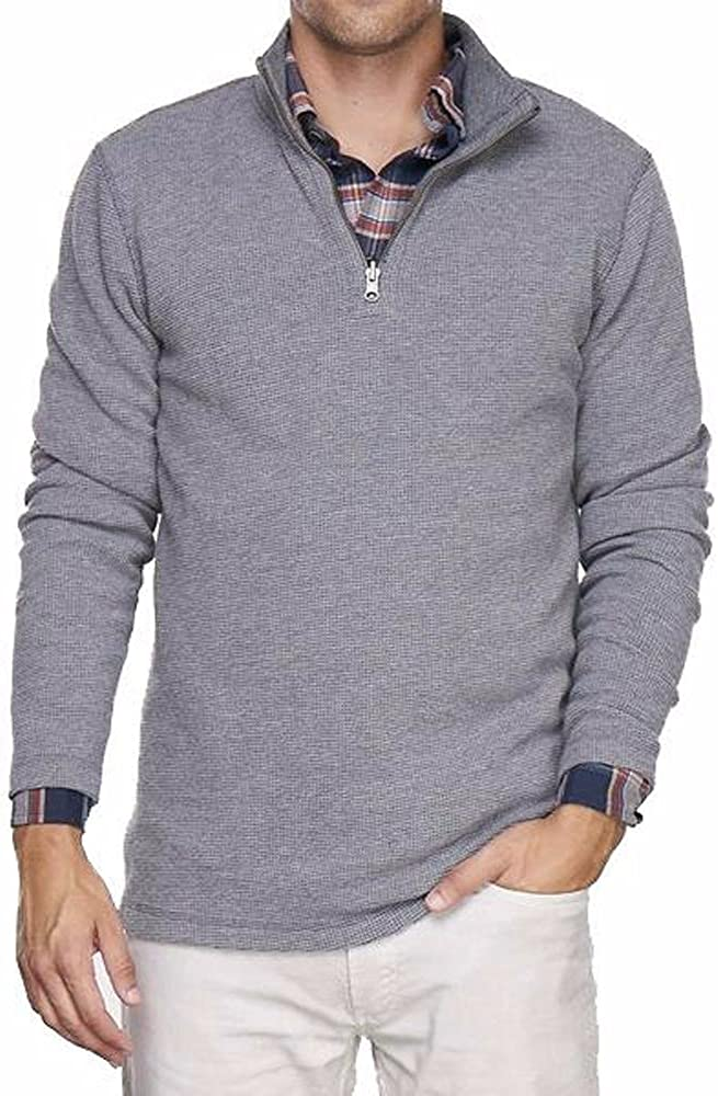 Medium Grey Heather//Dark Grey Heather Tailor Vintage Mens Reversible 1//4 Zip Double Sided Waffle Pull Over