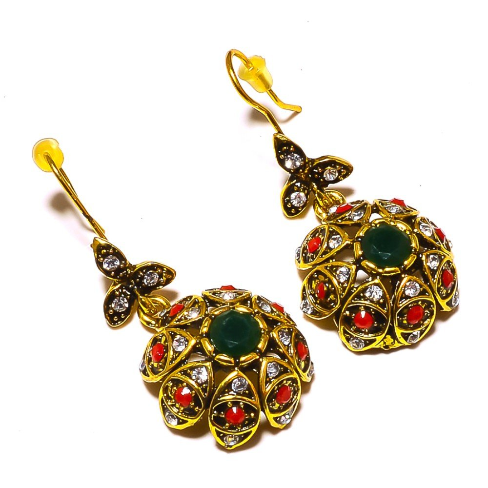 Red Dyed Ruby Dyed Emerald Brass Metal Earring 1.5 Turkish Style Handmade Jewelry
