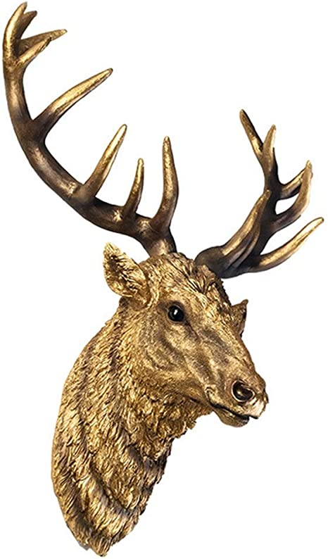 Wall Mount Animal Wall Sculpture Modeling The Mammalian Two Headed Decorative Film Deer Head Wall Hanging Jewelry Wall Statue Artificial Deer Head Half Body Animal Wall Sculpture Home Kitchen